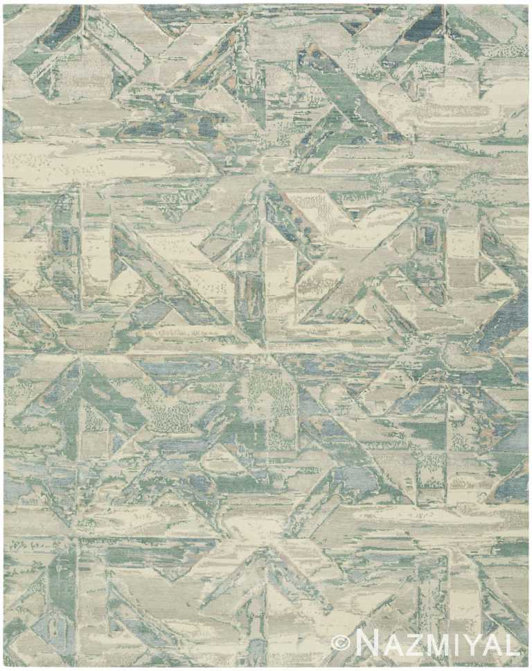Geometric Green Modern Boutique Rug 60740 by Nazmiyal Antique Rugs