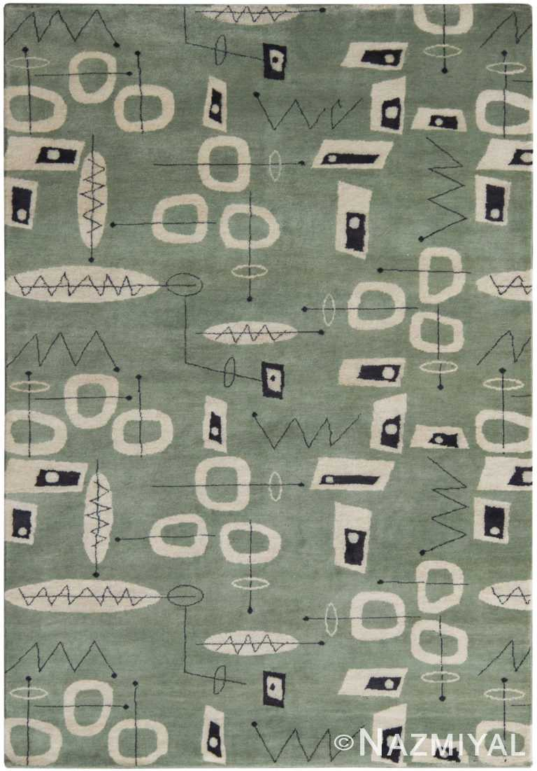 Green Mid Century Inspired Modern Area Rug 60769 by Nazmiyal Antique Rugs