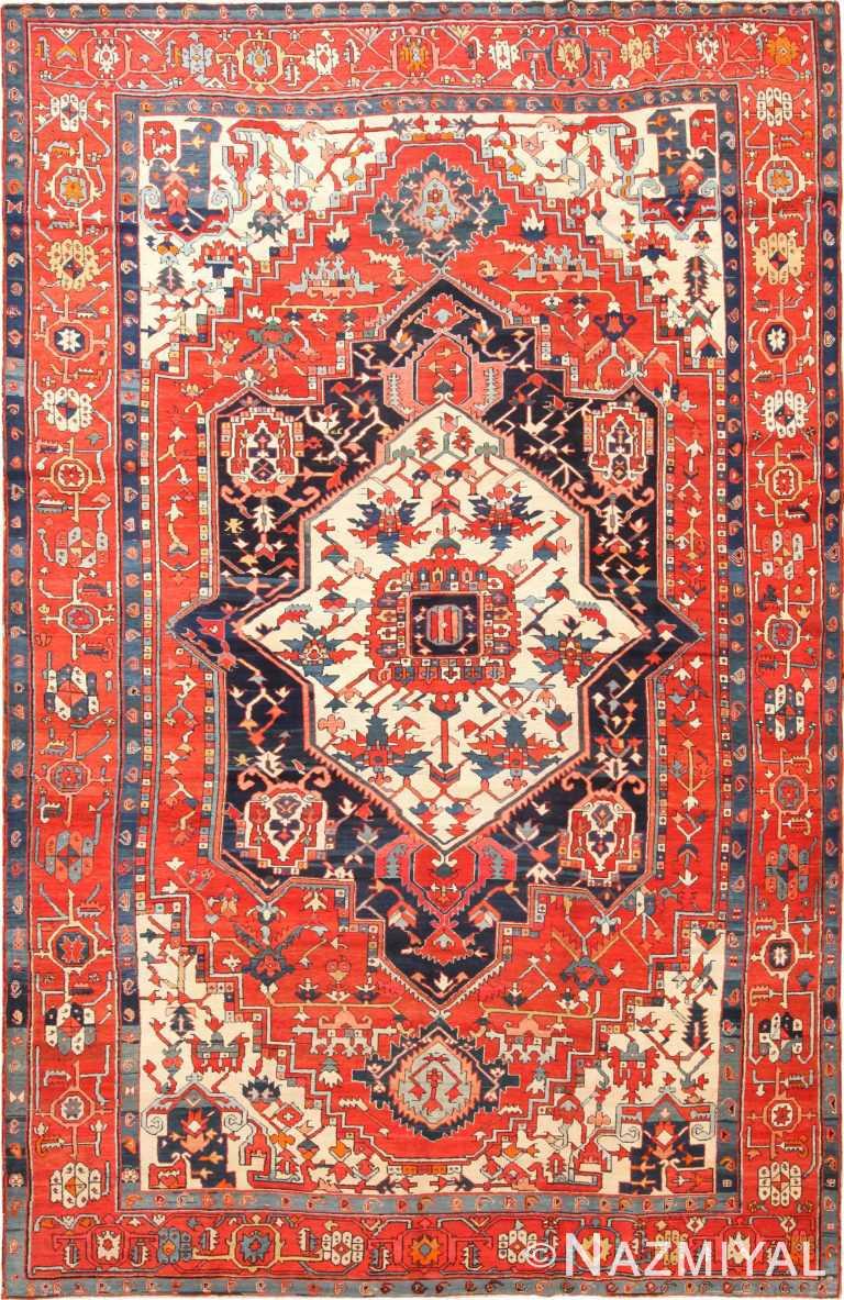 Large Antique Persian Heriz Serapi Area Rug 70931 by Nazmiyal Antique Rugs