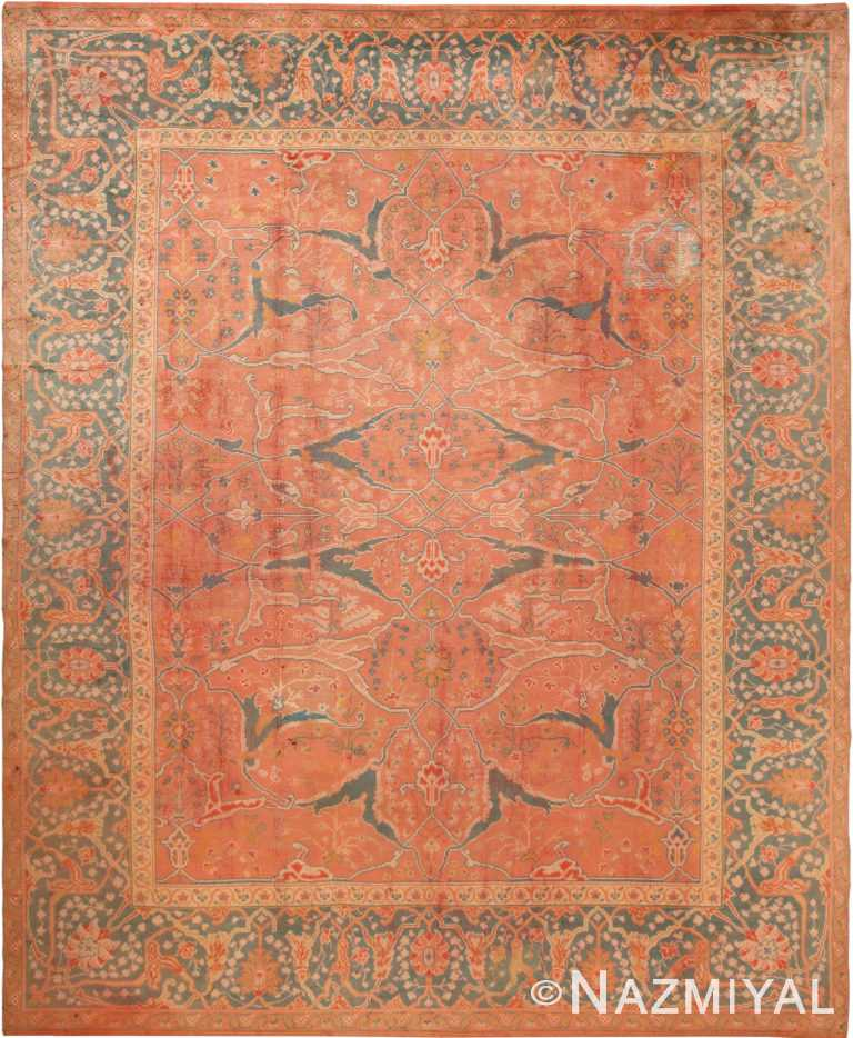 Large Coral Antique Turkish Oushak Area Rug 70876 by Nazmiyal Antique Rugs