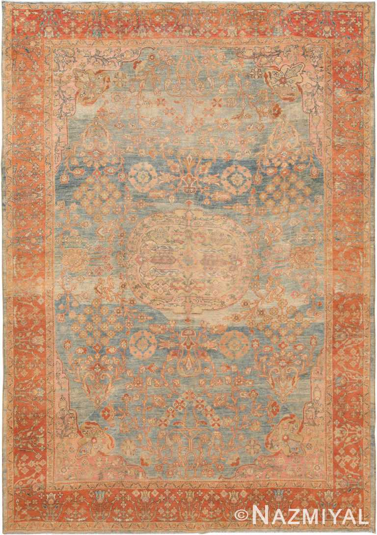 Light Blue Background Antique Sultanabad Rug 70944 by Nazmiyal Antique Rugs