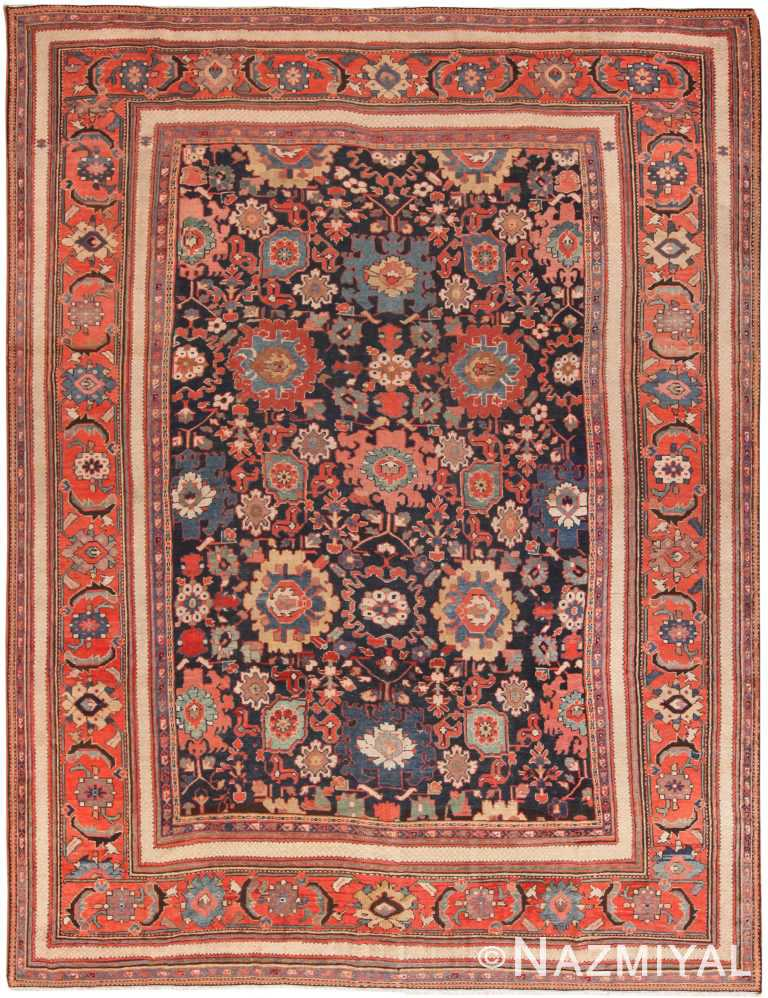 Navy Blue Background Antique Persian Sultanabad Rug 70943 by Nazmiyal Antique Rugs