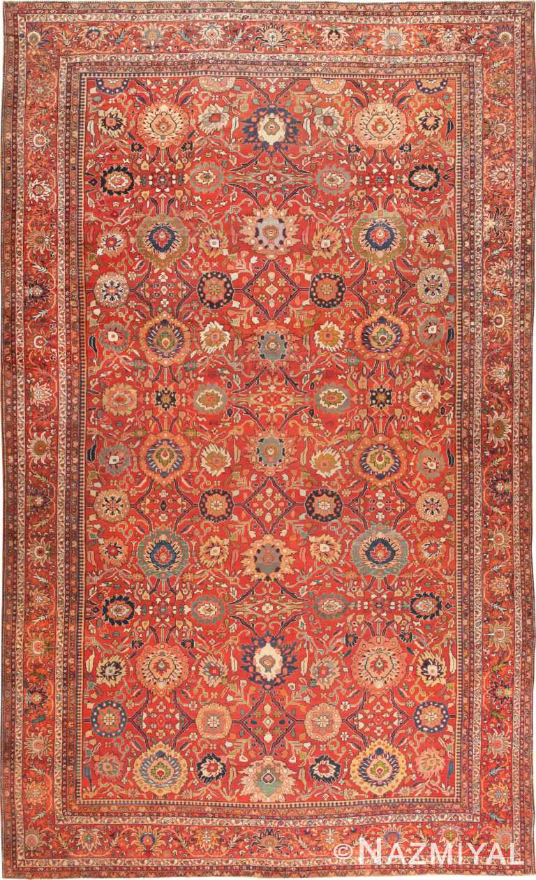 Oversized Floral Antique Persian Sultanabad Rug 70938 by Nazmiyal Antique Rugs