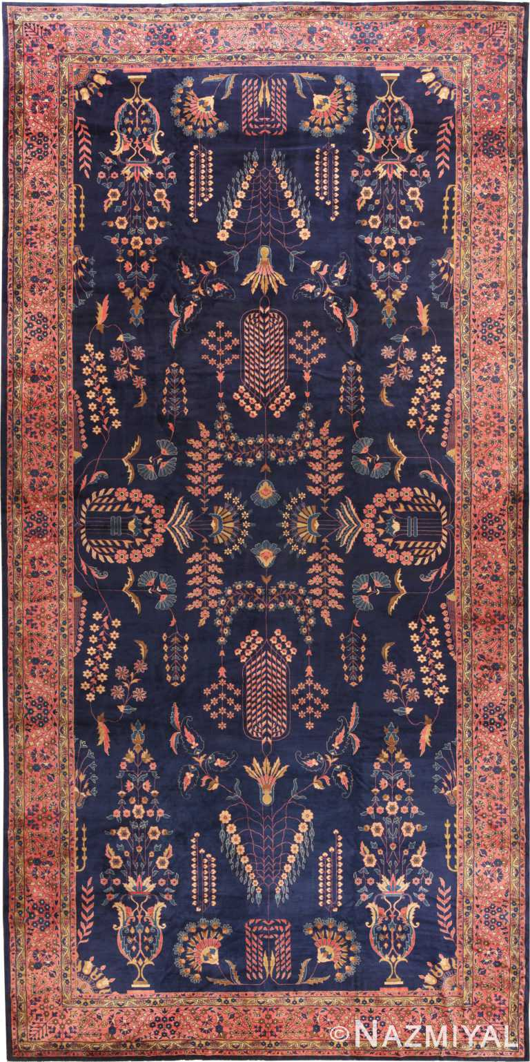Oversized Navy Blue Antique Indian Area Rug 70880 by Nazmiyal Antique Rugs