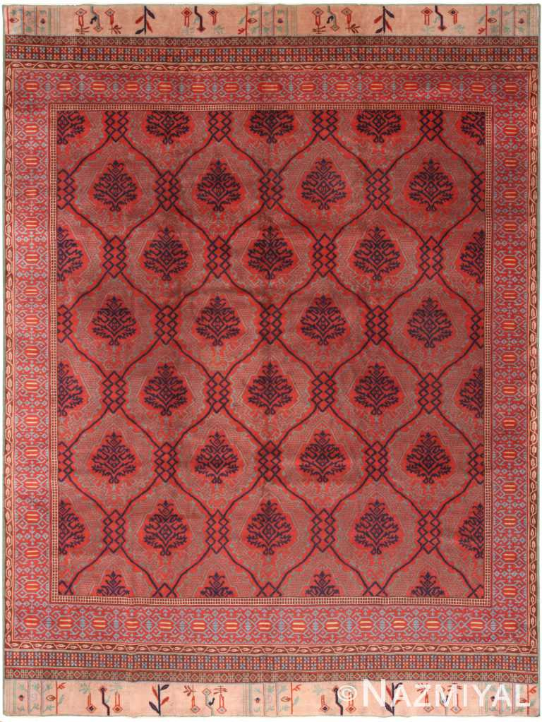 Red Antique Turkish Smyrna Area Rug 70930 by Nazmiyal Antique Rugs
