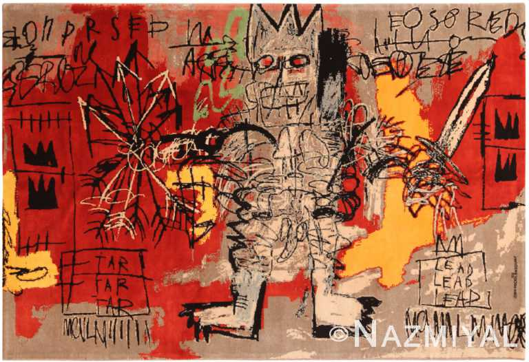 Red Color Modern Basquiat Inspired Art Area Rug 70955 by Nazmiyal Antique Rugs