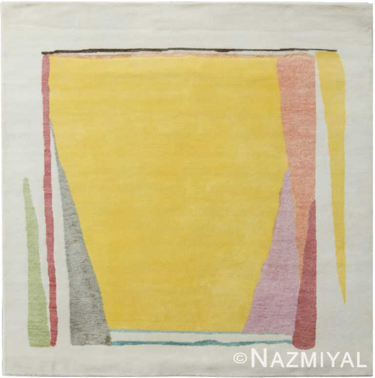 Square Yellow Abstract Mid Century Modern Rug 60766 by Nazmiyal Antique Rugs