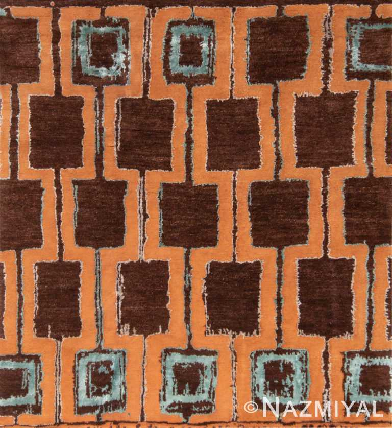 Terracotta Brown Color Mid Century Modern 60753 by Nazmiyal Antique Rugs
