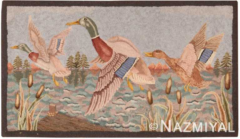 Beautiful Antique American Hooked Rug 70982 by Nazmiyal Antique Rugs
