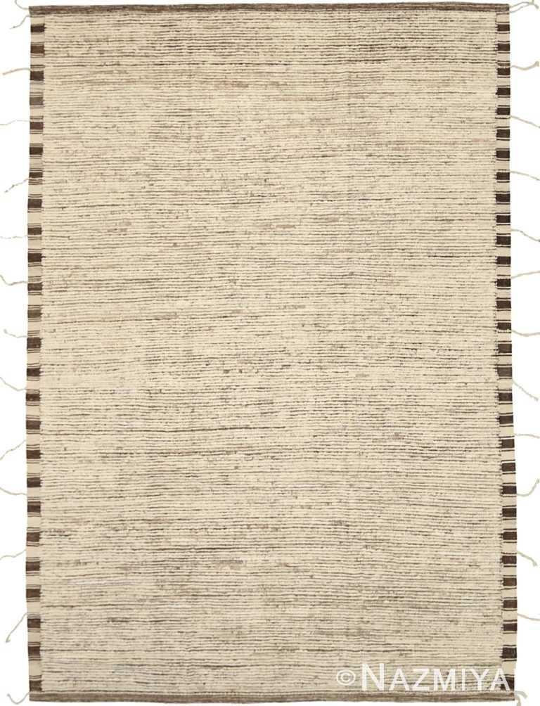 Beige Brown Color Textured Modern Distressed Rug 60826 by Nazmiyal Antique Rugs