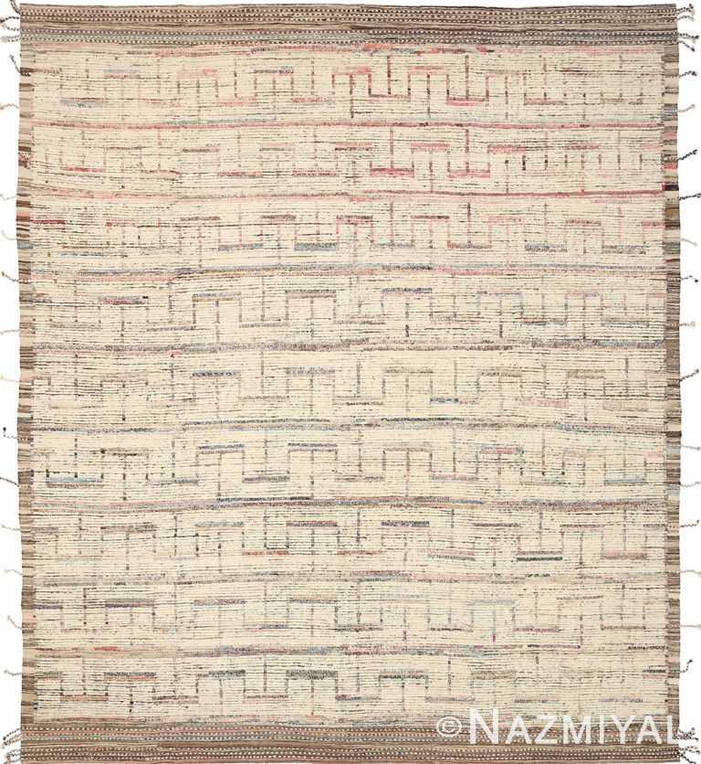 Beige Brown Geometric Modern Distressed Rug 60799 by Nazmiyal Antique Rugs