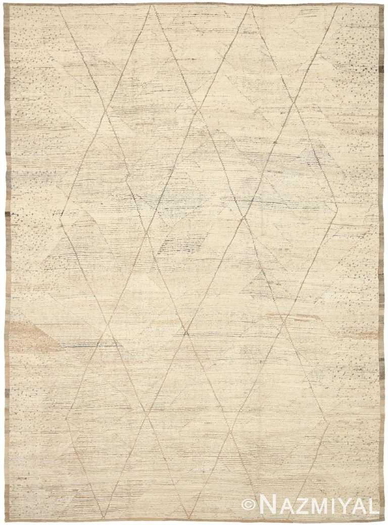 Beige Brown Geometric Modern Moroccan Rug 60776 by Nazmiyal Antique Rugs