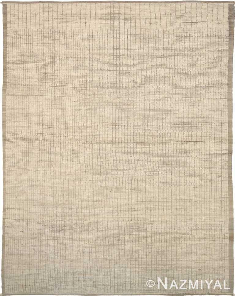 Beige Brown Textured Modern Distressed rug 60802 by Nazmiyal Antique Rugs