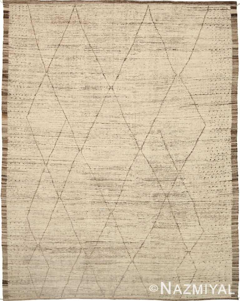 Brown Cream Geometric Modern Distressed Rug 60792 by Nazmiyal Antique Rugs