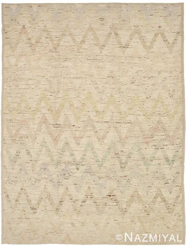 Brown Grey Geometric Modern Distressed Rug 60815 by Nazmiyal Antique Rugs