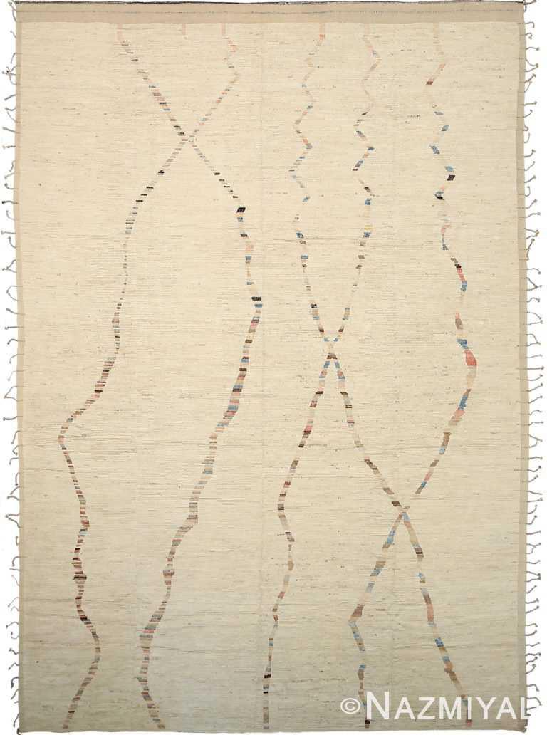 Cream Geometric Modern Distressed Rug 60804 by Nazmiyal Antique Rugs