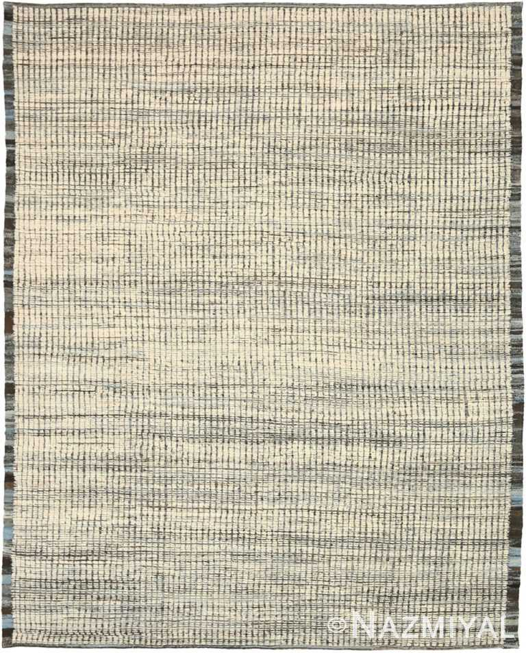 Charcoal Beige Textured Modern Distressed Rug 60818 by Nazmiyal Antique Rugs