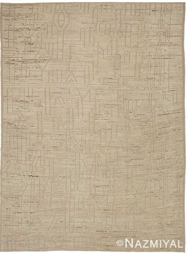 Cobblestone Geometric Modern Distressed Rug 60812 by Nazmiyal Antique Rugs
