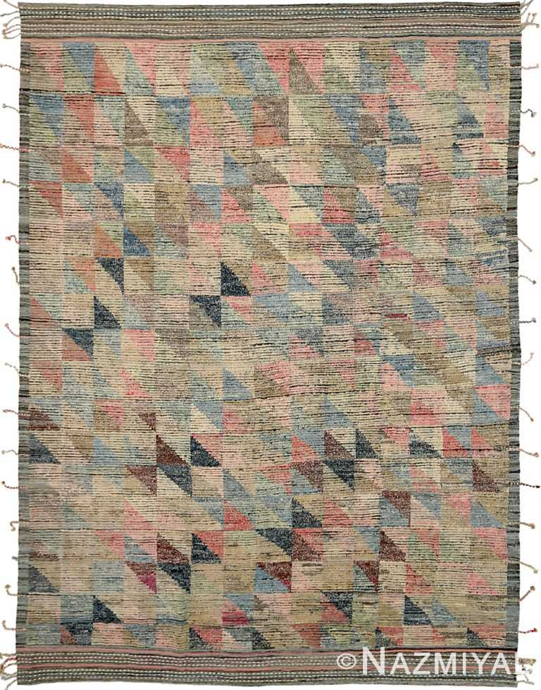 Colorful Modern Distressed Rug 60795 by Nazmiyal Antique Rugs