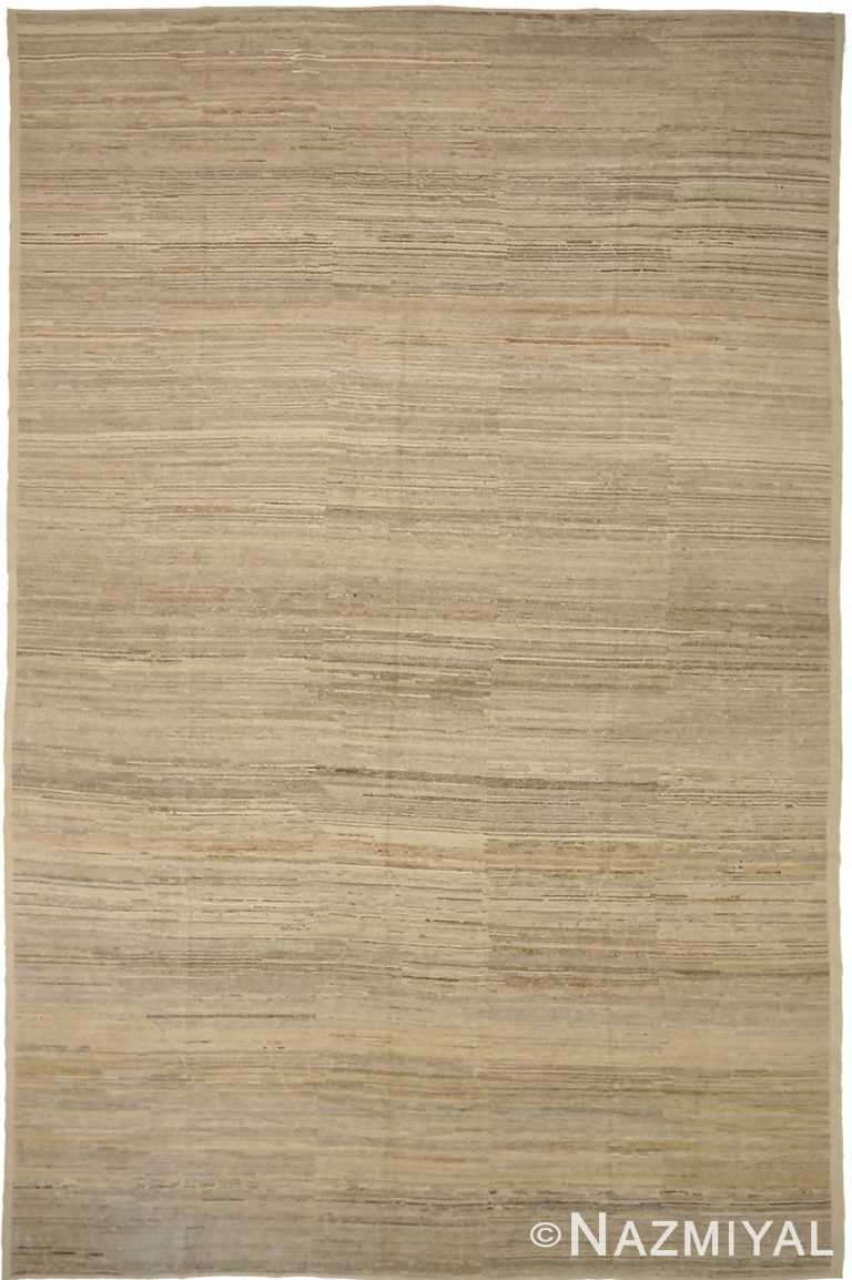 Neutral Beige Earth Tone Modern Distressed Rug #60811 by Nazmiyal Antique Rugs