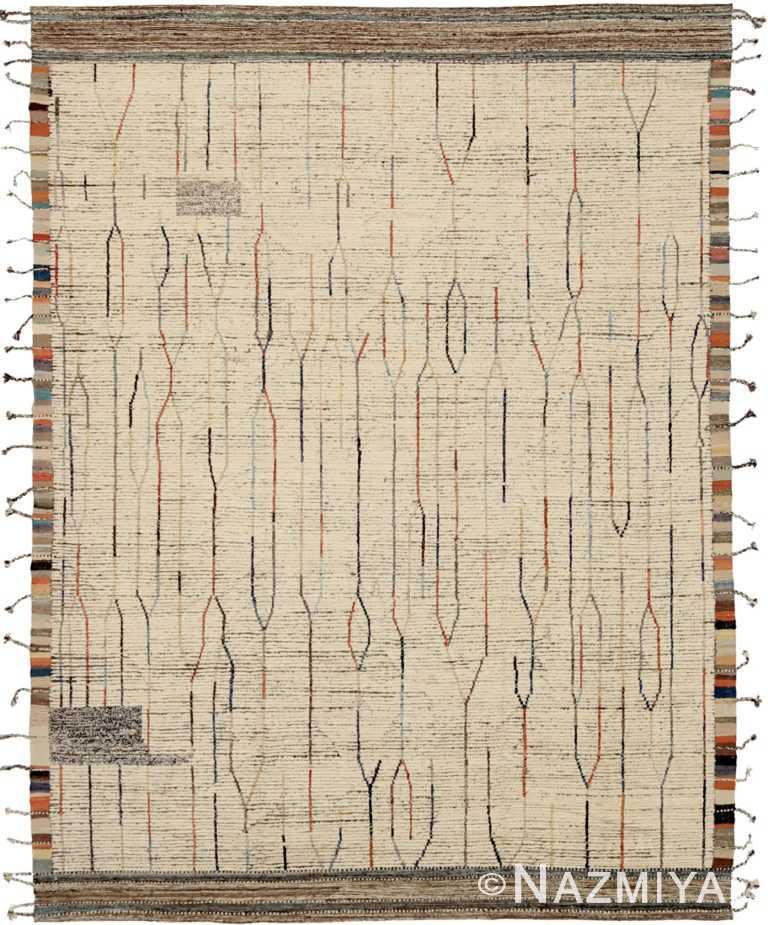Cream Brown Geometric Modern Distressed Rug 60813 by Nazmiyal Antique Rugs