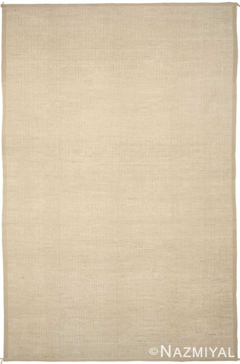 Cream Color Modern Distressed Rug 60791 by Nazmiyal Antique Rugs
