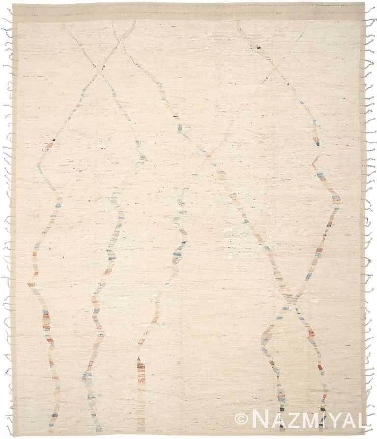 Cream Geometric Modern Distressed Rug 60790 by Nazmiyal Antique Rugs