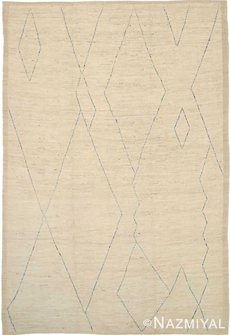 Cream Geometric Modern Moroccan Rug 60779 by Nazmiyal Antique Rugs