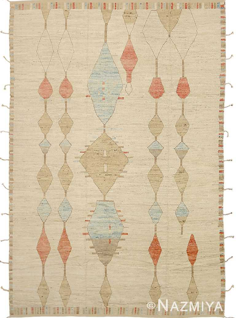 Cream Orange Color Geometric Modern Moroccan Rug 60778 by Nazmiyal Antique Rugs
