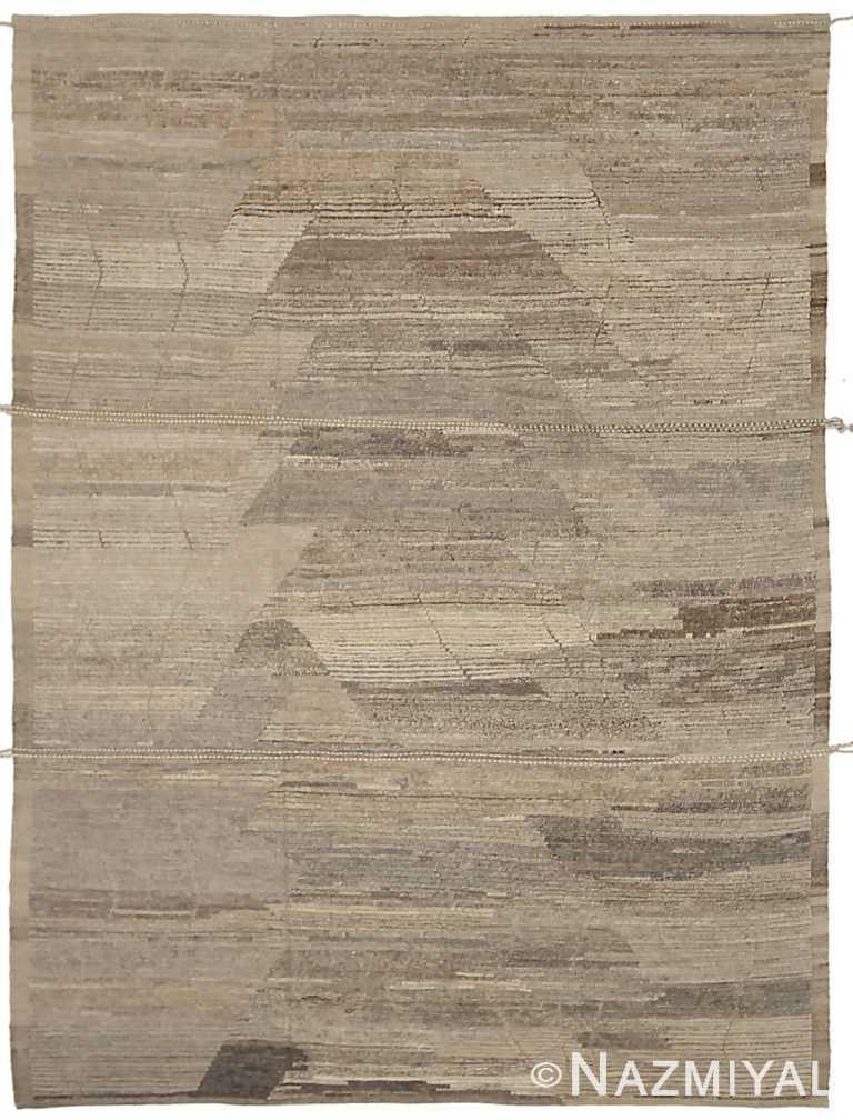 Dark Brown Beige Color Geometric Modern Distressed Rug 60830 by Nazmiyal Antique Rugs