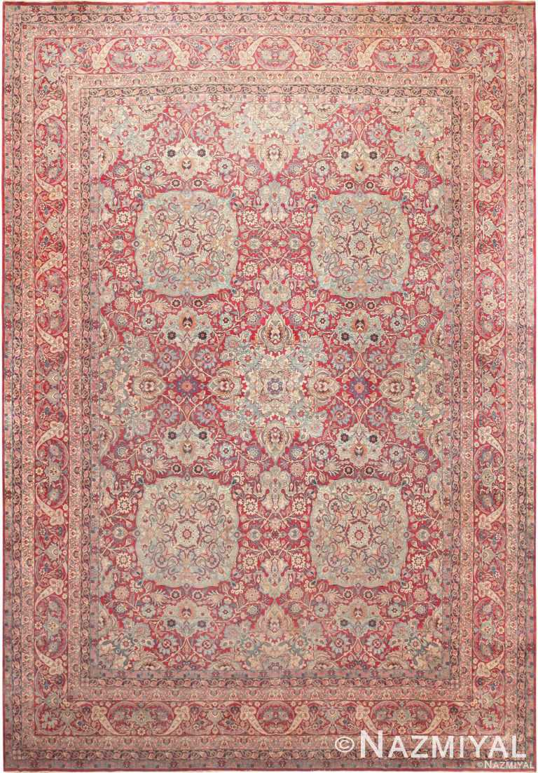 Fine Floral Large Antique Persian Kerman Rug 70942 by Nazmiyal Antique Rugs
