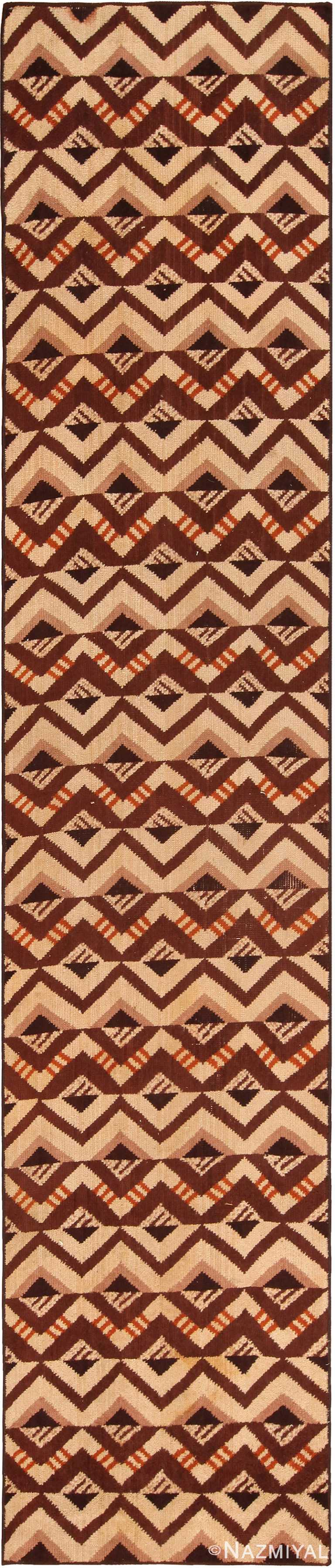 Geometric Vintage French Art Deco Runner Rug 70968 by Nazmiyal Antique Rugs