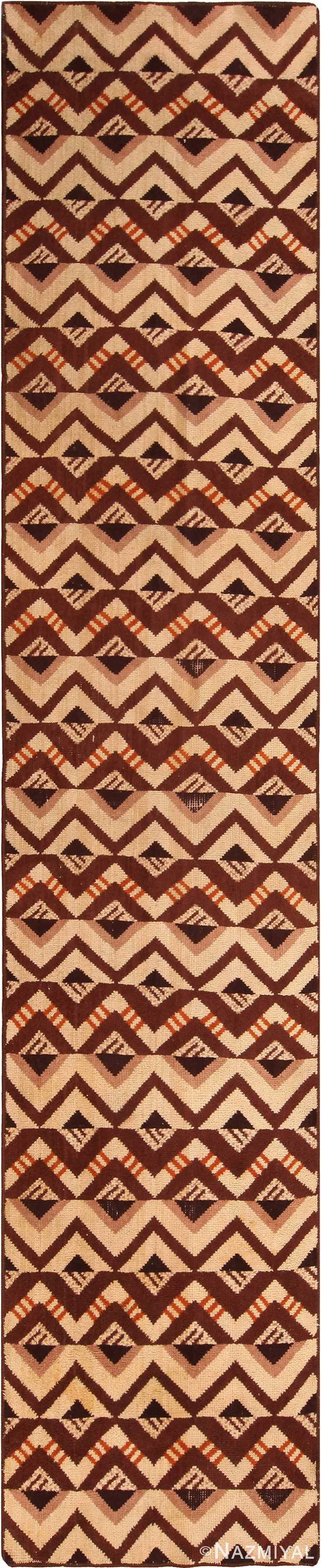 Geometric Vintage French Art Deco Runner Rug 70969 by Nazmiyal Antique Rugs