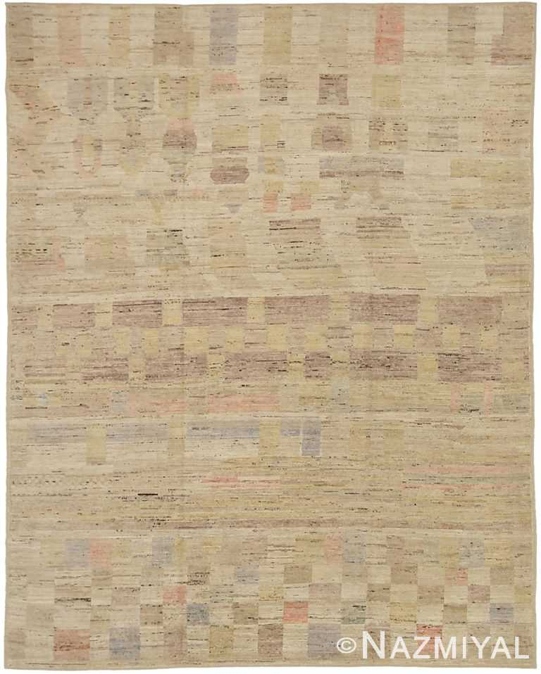 Neutral Color Geometric Modern Moroccan Rug 60782 by Nazmiyal Antique Rugs