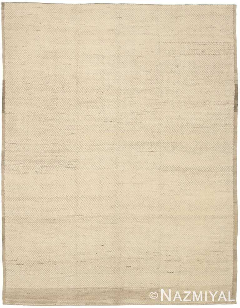 Ivory Color Modern Moroccan Rug 60784 by Nazmiyal Antique Rugs