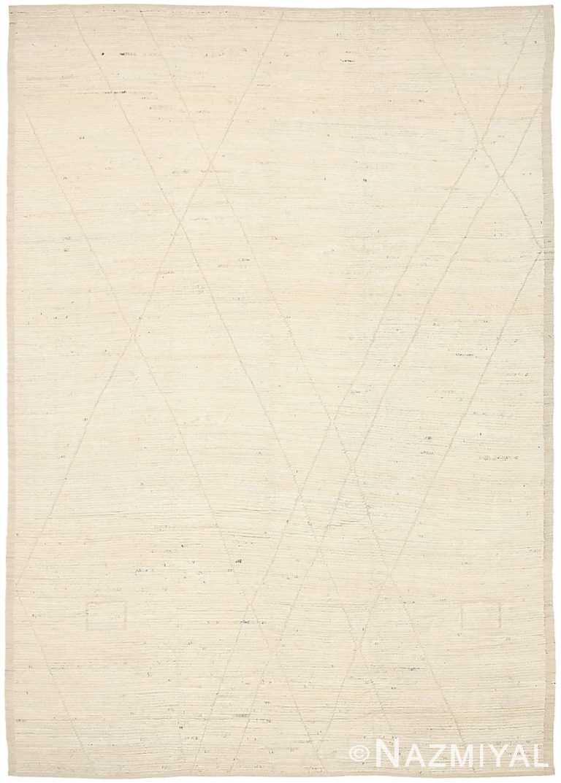 Ivory Geometric Modern Moroccan Rug 60781 by Nazmiyal Antique Rugs