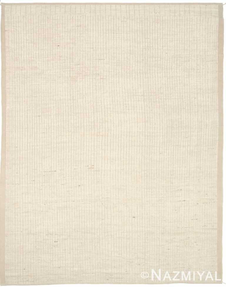 Ivory Textured Modern Distressed Rug 60806 by Nazmiyal Antique Rugs