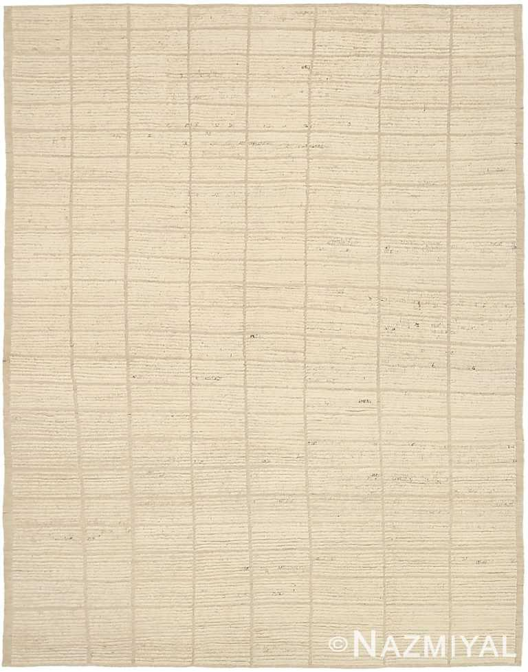 Ivory Textured Modern Distressed Rug 60822 by Nazmiyal Antique Rugs