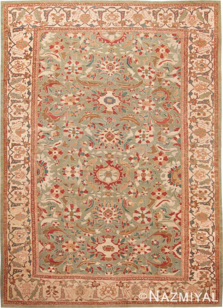 Large Green Color Antique Persian Sultanabad Rug 70941 by Nazmiyal Antique Rugs