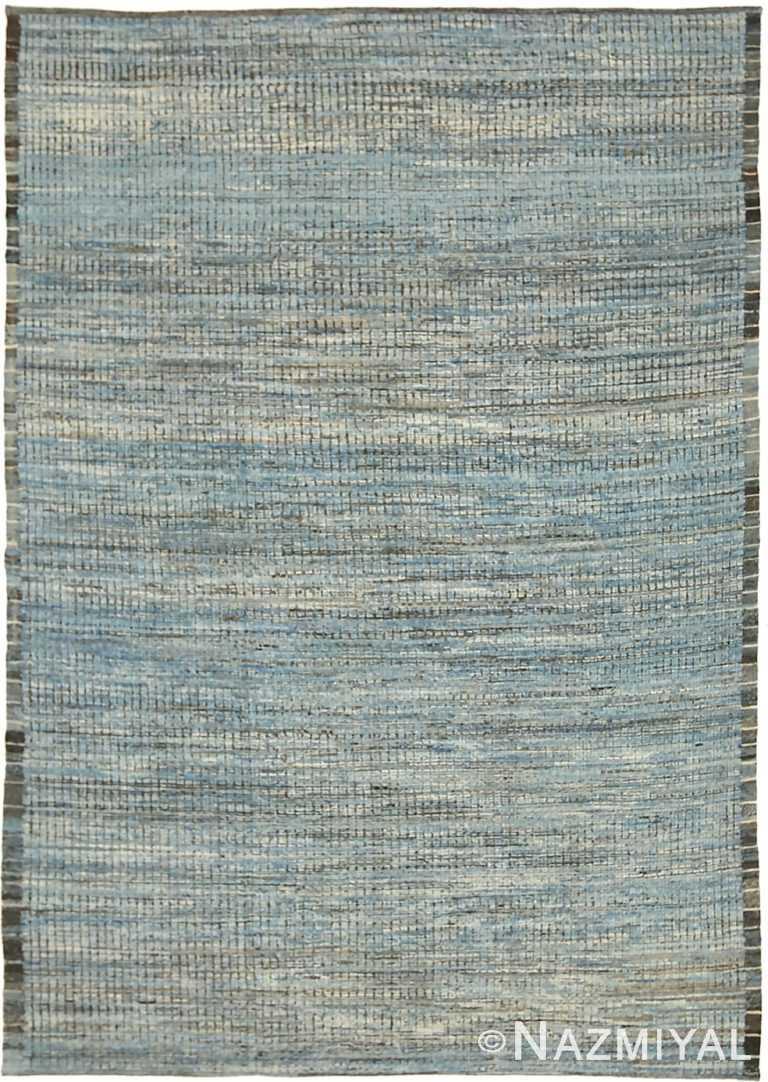 Sky Blue Beige Color Modern Distressed Rug 60801 by Nazmiyal Antique Rugs