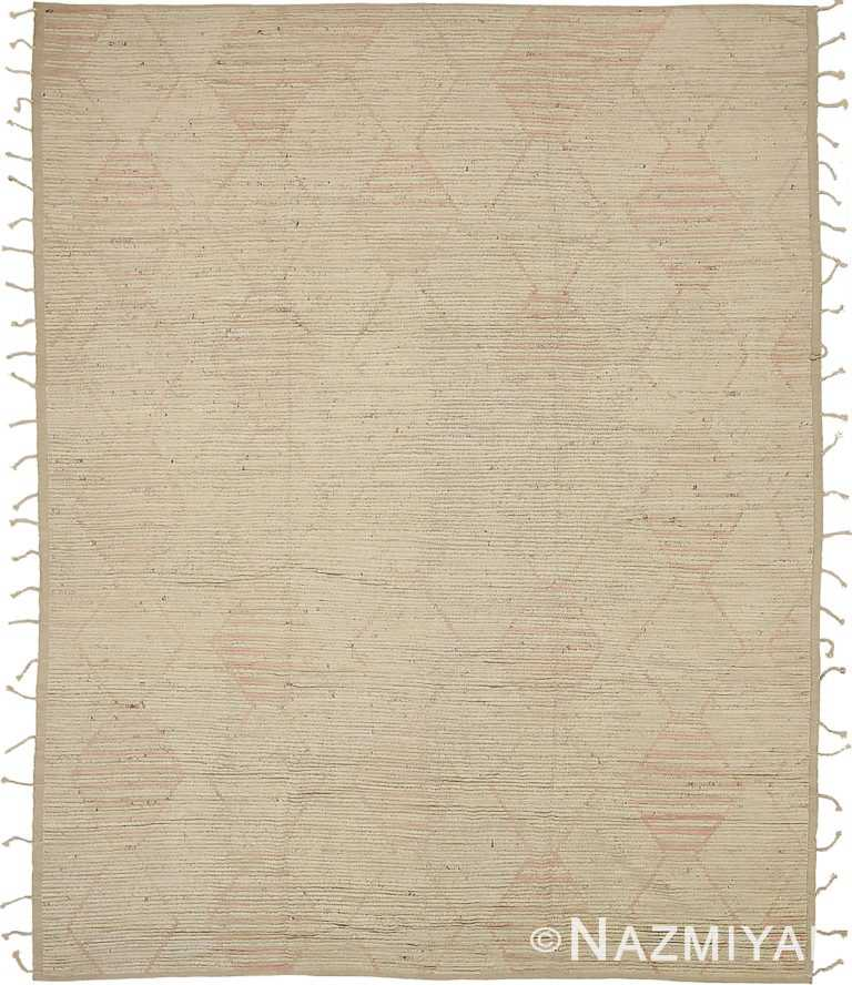 Taupe Geometric Modern Distressed Rug 60814 by Nazmiyal Antique Rugs