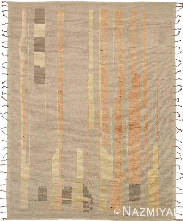 Taupe Orange Geometric Modern Distressed Rug 60816 by Nazmiyal Antique Rugs
