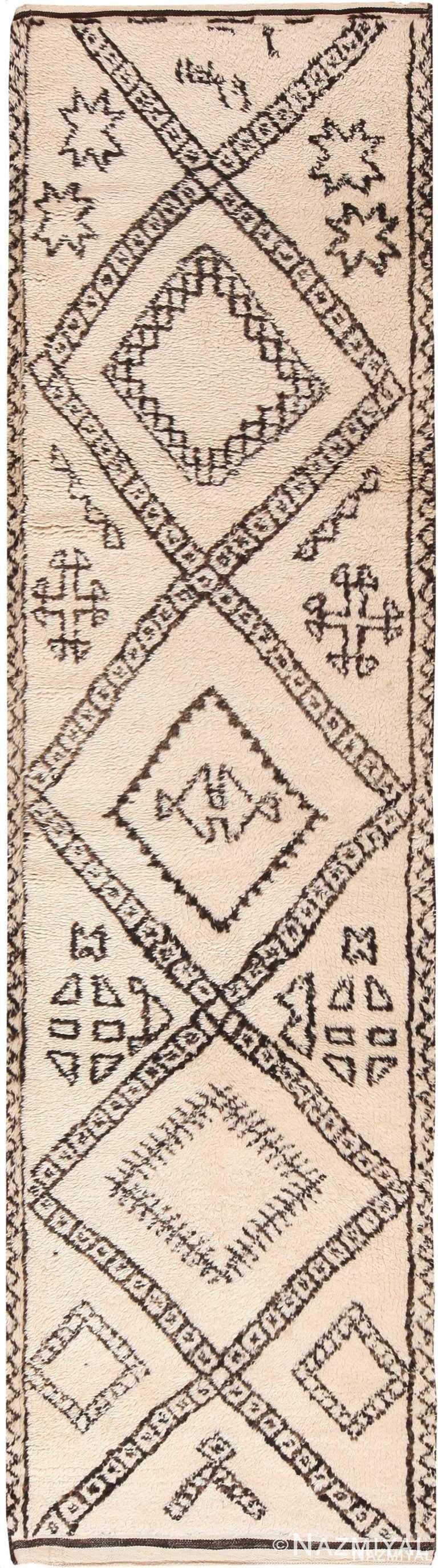 Tribal Design Vintage Moroccan Runner Rug 70921 by Nazmiyal Antique Rugs