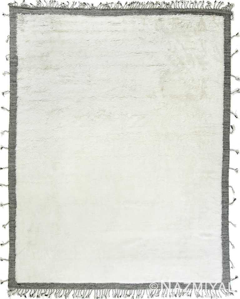 White Black Colored Modern Boho Chic Rug 60110 by Nazmiyal Antique Rugs