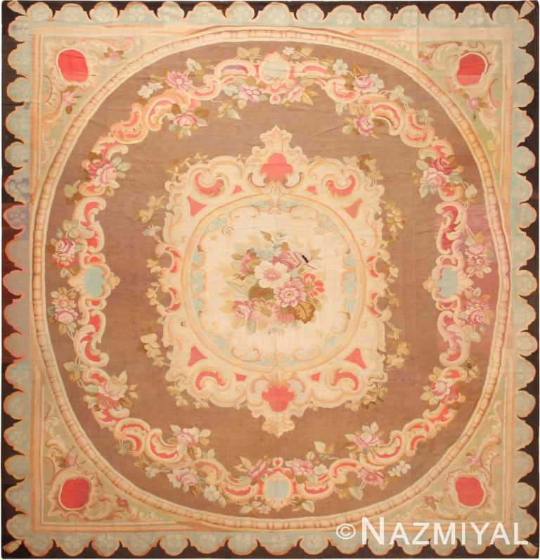 Antique French Aubusson Square Area Rug 70946 by Nazmiyal Antique Rugs