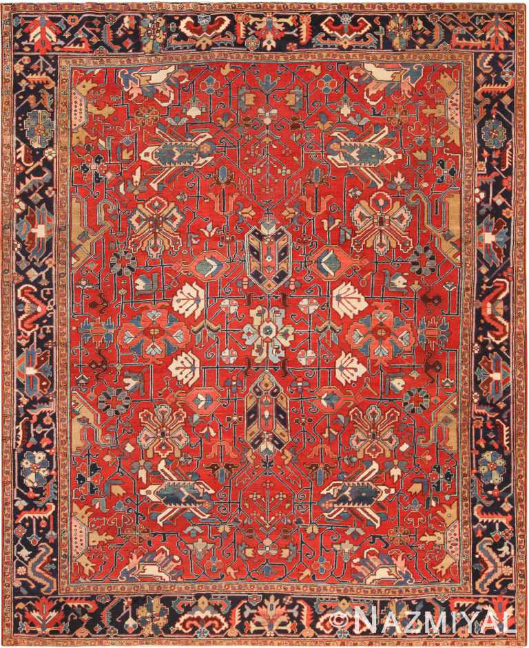 Antique Persian Heriz Area Rug 71015 by Nazmiyal Antique Rugs