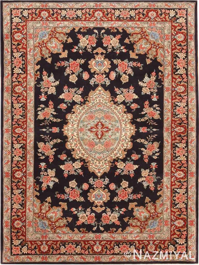 Black Background Vintage Persian Tabriz Rug 70761 by Nazmiyal Antique Rugs