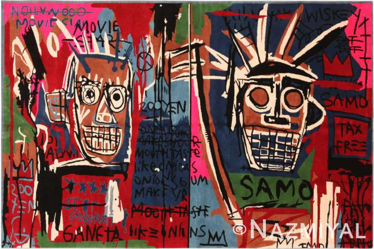 Colorful Modern Basquiat Inspired Art Area Rug 71005 by Nazmiyal Antique Rugs