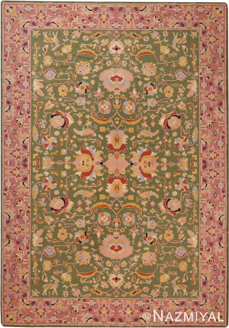 Green Background Antique Portuguese Needlepoint Rug 71004 by Nazmiyal Antique Rugs