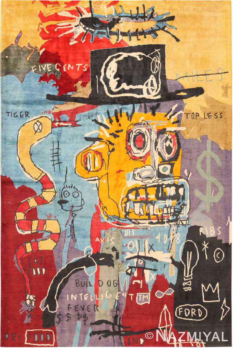 Modern Basquiat Inspired Art Area Rug 71006 by Nazmiyal Antique Rugs
